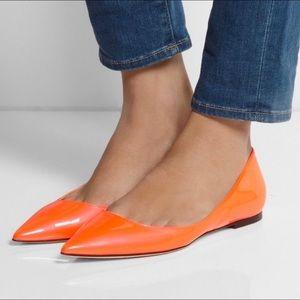 JIMMY CHOO Orange Pink 'Alina' Flat Shoes Size 7.5